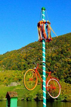 Bike May Pole,  #Mosel #Germany #riesling @Moselholidays