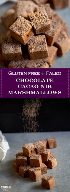 These Chocolate Marshmallows with Cacao Nibs are both easy to make & delicious to eat. Make them at home with just a handful of ingredients! Paleo friendly | The Movement Menu