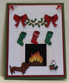 Christmas fireplace card by Maria