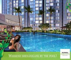 Enjoy a relaxed weekend with your friends and family by the poolside deck at Runwal Forests.