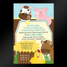 Farm Animals Printable Baby Shower or Birthday Invitation