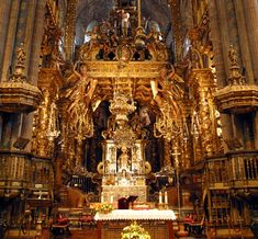 High Altar in the St. James Cathedral in Santiago de Compostela, Spain.  Houses the remains of the Apostle, James the Greater.