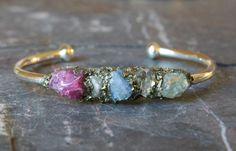 Dainty Cuff Chic Jewelry Raw Crystal Cuff Bracelet by LeaSpirit