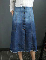 Stylish Buttoned Bleach Wash Denim Skirt For Women (BLUE,L) | Sammydress.com Mobile
