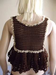 CROCHET Shrug / Crochet BOLERO / Crochet Vest / Sleeveless Vest / Wavy Hem Shrug / Sparkling Borders / Chest FLOWER. $45,00, via Etsy.