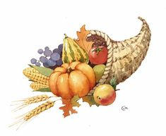 Cornucopia - Original Watercolor Painting 8 1/2 x 10 1/2 inches Thanksgiving Horn of Plenty