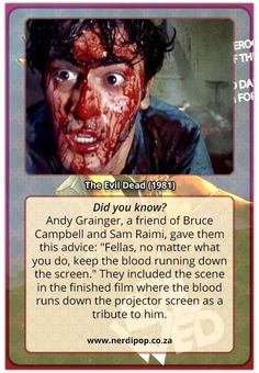We are counting down to Halloween with Nerdipop's top Horror Movies! Evil Dead 1981, Sam Raimi, Halloween Countdown, Bruce Campbell, Pop Culture, Fun Facts, Horror, Sci Fi, Scene