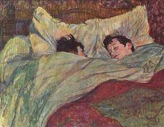 Großbild: Henri de Toulouse-Lautrec: Zwei Mädchen im Bett Henri De Toulouse Lautrec, Tolouse Lautrec, Oil On Canvas, Canvas Art, Popular Paintings, Ghost In The Machine, Art Database, Couple Art, Portrait