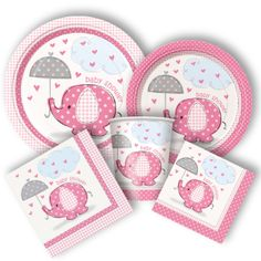 Umbrellaphants Girl Party Supplies - http://www.discountpartysupplies.com/special-events/baby-showers/elephant-baby-shower-supplies-girl