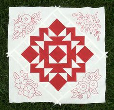 Redwork quilt ~ I'd like to do something like this but use blue instead of the red.