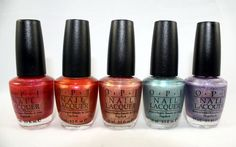 OPI Crim-sun, Coral Reef, Day at the Peach, Blue Moon Lagoon and Sand-erella