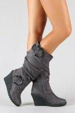 #Slouchy Buckle Knee High Wedge Boot