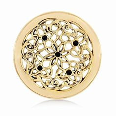 Nikki Lissoni Gold-tone Flower Bed Coin (Small) available @ Flower Beds, Coins, Swarovski, Jewelry Design, Fashion Jewelry, Brass, Jewels, This Or That Questions, Flowers