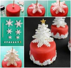 Awesome Christmas Cake Decorating Ideas For You When your gingerbread house has been constructed and your Christmas cookies have been baked, it's time to turn your attention to a Christmas cake. Fondant Christmas Cake, Mini Christmas Cakes, Christmas Cake Designs, Christmas Cupcakes Decoration, Christmas Cake Topper, Fondant Decorations, Christmas Sweets, Holiday Cakes, Christmas Baking