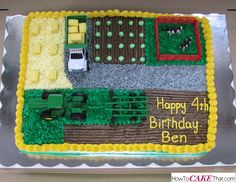 Edible Gravel Driveway tutorial - learn how to make a realistic buttercream stone road perfect for a farm, tractor or construction cake! Tractor Cupcakes, Tractor Birthday Cakes, Number Birthday Cakes, Birthday Themes For Boys, Farm Animal Party, Farm Party, Happy 4th Birthday, 2nd Birthday, Farm Cake