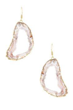 Randi Sliced Agate Geode Drop Earrings by Dara Ettinger on @HauteLook