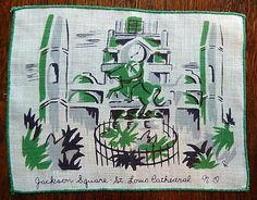 Vintage New Orleans scene cocktail napkin Tourist Trap, Cocktail Napkins, Vintage Prints, New Orleans, Cocktails, Scene, Antiques, Craft Cocktails, Antiquities
