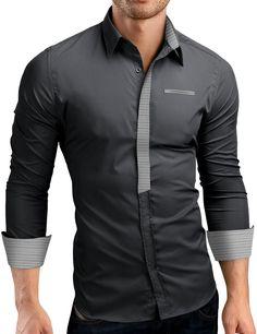 Grin&Bear Slim Fit Hemd Herrenhemd Leicht-denim bügelarm