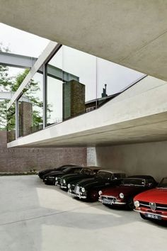 Vintage Cars The House of a Vintage Car Collector : V'House by Wiel Arets Architects - Wiel Arets Architects created V' House for a couple that collects vintage cars, and is stitched within the medieval tapestry of Maastricht. As the house's. Dream Car Garage, Garage House, Garage Design, House Design, Collector Cars, Design Firms, Vintage Cars, Interior Architecture, Living Spaces