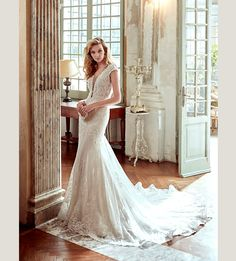 Wedding Dress Lace, Attractive Tulle & Satin V-Neck Mermaid Wedding Dresses With Beaded Lace Appliques Unique and inexpensive wedding gowns that wow! Shop our wedding dresses online and in-store for top styles and trendy bridal looks. Chapel Wedding Dresses, Cathedral Wedding Dress, Outdoor Wedding Dress, Stunning Wedding Dresses, Perfect Wedding Dress, Wedding Gowns, Lace Wedding, Mermaid Wedding, Dream Wedding