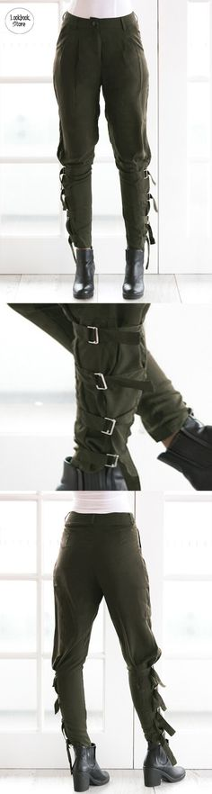 Pants and Leggings // If you're going for that laidback look, pair these army green harem pants with sneakers, a square top, and you're all set.