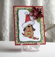 Handmade Christmas Card  Dog Christmas Card  Custom by catSCRAPPIN, $6.50