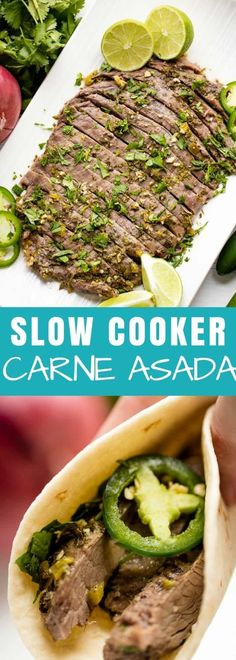 Slow Cooker Carne Asada makes making steak tacos a breeze! Flank steak is slow cooked in a flavorful sauce for carne asada that will knock your socks off! Skirt Steak Recipes, Crockpot Recipes, Cooking Recipes, Crockpot Flank Steak Recipes, Flank Steak Tacos, Seared Salmon Recipes, Crock Pot Tacos, Slow Cooked Meals, Slow Cooked Steak
