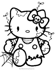 HALLOWEEN COLORING PAGE OF HELLO KITTY  AS A ZOMBIE