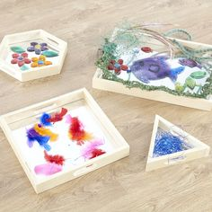 A beautiful collection of 4 wooden nesting mirror shapes ideal for exploring reflections, sensory activities, sorting, counting and more. Large Wooden Tray, Wooden Tree, Activities For 2 Year Olds, Sensory Boxes, Mirror Shapes, Mirror Tray, Painted Trays, Different Textures, Little Miss
