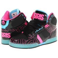 Osiris NYC83 Slim Women's Skate Shoes ($41) ❤ liked on Polyvore featuring shoes, black, lace up shoes, osiris shoes, skate shoes, block shoes and black laced shoes