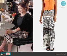 Aria's printed culottes on Pretty Little Liars. Outfit Details: https://wornontv.net/56446/ #PLL