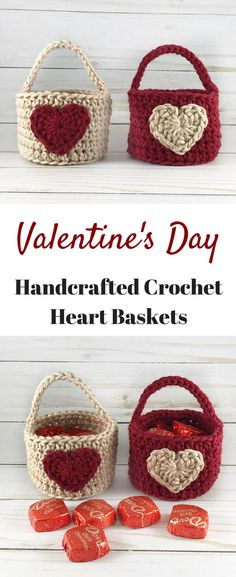Beautiful Handcrafted Valentine's Day Crocheted Baskets with Hearts #ad #handmade #baskets #crochet #crocheting #crochetbasket #valentinesday #valentine #valentinesdaygiftideas #giftsforher #giftidea