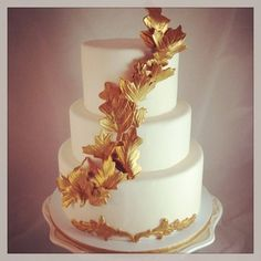 Autumn Gold Wedding Cake   ~ all edible