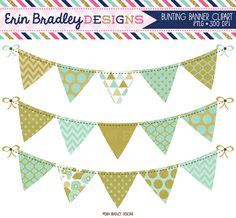 Aqua Blue Bunting Banner Flag Instant Download Clipart Graphics Set Personal & Commercial Use