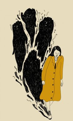 """caseykaui: """"rookiemag: """"Monstro(us) People who commit acts of violence are still people. Words by Krista, illustration by Cynthia. """" This is one of the best articles I have read in a long time. Art And Illustration, Illustrations, Kunst Inspo, Art Inspo, Arte Sketchbook, Sad Art, Mystique, Chef D Oeuvre, Figure Drawings"""