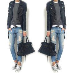 "2,880 Me gusta, 72 comentarios - @mademoiselle__k en Instagram: ""#ootd #asos #asossweater #cashmeresweater #blackorchiddenim #blkdnm #blkdnmleatherjacket #adidas…"""