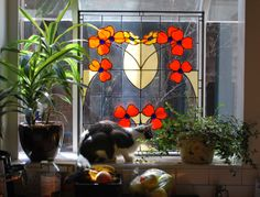 Traditional Poppy Stained Glass Window created by Neil Maciejewski 2013.   rayoflightglass.com   Cameo by Coco the cat. Stained Glass Repair, Custom Stained Glass, Stained Glass Flowers, Stained Glass Windows, Cape Cod, Victorian Fashion, Poppies, Pattern Design, Glass Art