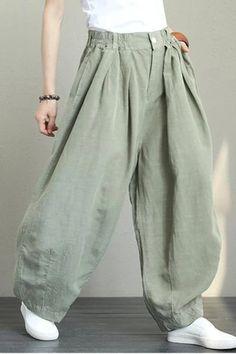 Casual linen trousers with wide legs women loose trousers Linen Pants Women, Wide Leg Linen Pants, Linen Trousers, Pants For Women, Maxi Pants, Harem Pants, Fashion Week, Womens Fashion, Pantalon Large