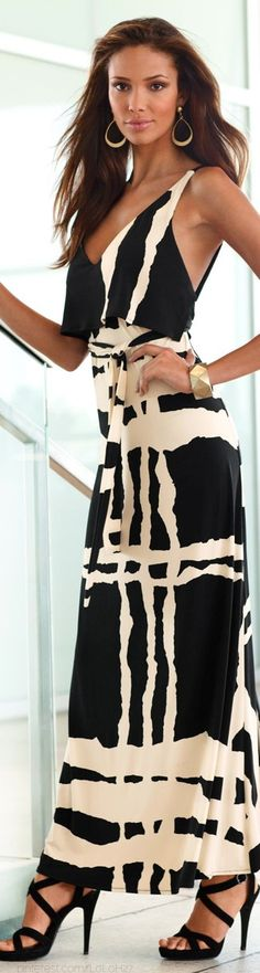 Country Club- Black and white summer maxi from Boston Proper 2014