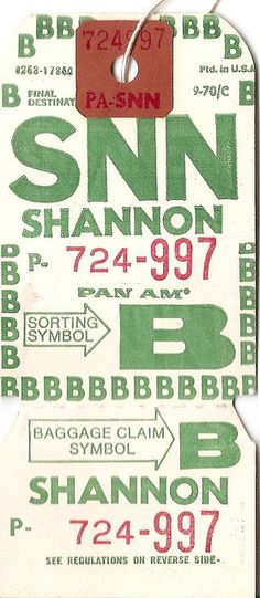 Pan American - SNN Shannon Baggage Tag