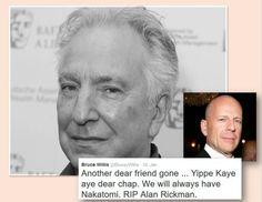 Bruce Willis pays tribute to Alan Rickman