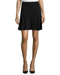Catherine Catherine Malandrino Stretch-Knit A-Line Skirt, Noir, Women's, Size: 14