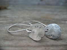 Rustic Hammered Disc earrings in recycled and oxidized sterling silver $30.00 by JoDeneMoneuseJewelry