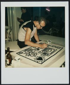 """An artist is a spokesman for a society at any given point in history."""" - Keith Haring (1982. Polaroid courtesy of the Keith Haring Foundation) Keith Haring: The Political Line opens Novemebr 8, 2014. #Countdown to #PoliticalHaring"""