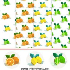 Vector collection of fruit pattern.