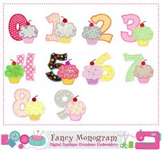 Birthday Cupcake appliqueBirthday Number 09 by FancyMonogram