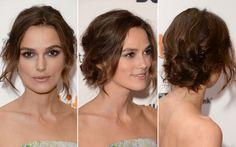 47. Keira Knightley prendeu o cabelo todo para trás, fazendo nózinhos com as mechas do cabelo. O penteado ficou bem soltinho e natural.
