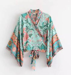 Excited to share the latest addition to my #etsy shop: Vintage Chic Boho Top, Floral Print Kimono, Hippie Bohemian Blouse, Summer Boho Kimono Short, Boho Beach #bohohippie #bohoblouse #bohemiankimono #gypsystyle #bohotop #hippiestyle
