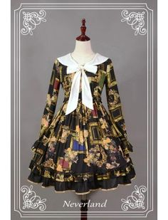 I don't really care for the print, but I like the design of this OP. Neverland Lolita ~Picture Frames~ Long Sleeves Loilta OP Dress