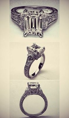 Engagement Jewelry Large Emerald Cut Diamond Cathedral Graduated pave Engagement Ring What do you think of the Emerald Cut Diamonds, Diamond Cuts, Pink Diamonds, Engagement Jewelry, Diamond Engagement Rings, Solitaire Engagement, Pretty Rings, Beautiful Rings, Do It Yourself Jewelry